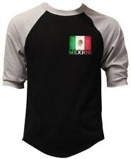 Men's Mexico Flag Chest Black Baseball Raglan T Shirt Mexican Soccer Aztec Mayan
