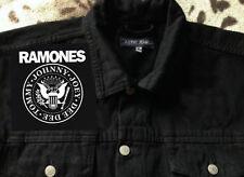 Ramones Hey Ho Lets go eagle sello punk rock Denim Corte Chaqueta M-XXL Blitzkrieg