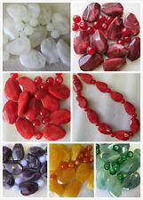 20 grandes perles 36 x 24mm marbre effectuées en acrylique et verre 12mm fabrication de bijoux