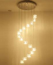 Square Crystal LED Pendant Lamp Living Room Spiral Villa Stair Ceiling Light