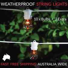 10m White Festoon String Lights | Waterproof Outdoor | Wedding Party | Patio