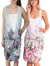 DESIGUAL KALI DRESS S-XXL 10-18 RRP£79 WHITE PINK / BLUE FLOWER DRAPED JERSEY