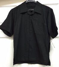 Boys Linen Rayon Short Sleeves Black 2-Piece Vangogh Suit 2-Pleated Pants
