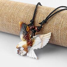 """1/12 pcs Faux Yak Bone Flying Eagle Birds Pendant Necklace 13"""" adjustable"""