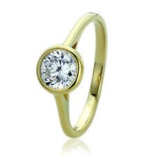 Women 8mm 14K Gold 1 ct CZ Classic Bezel Solitaire Wedding Engagement Ring