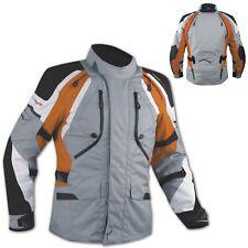 Giacca Offroad Moto Impermeabile Tessuto Protezioni CE Prese Aria Arancione