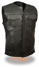 SOA Men's Collarless Leather Vest w/ Two Gun Pockets Snap/Zipper Front LKM3711