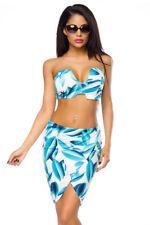 Sexy falda Top Set Estampado Floral Turquesa Blanco Patrón Bandeau Verano Playa
