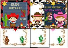 1 HANDMADE PERSONALISED COWGIRL OR COWBOY WESTERN BIRTHDAY CARDS