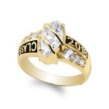 JamesJenny Yellow Gold Plated 2018 Graduation School Marquise CZ Ring Size 4-10