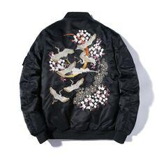 New Mens Casual Fall Thin Jacket Embroidery Sukajan Souvenir Jacket Loose Fit