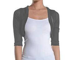 Fashion Secrets Women`s Charcoal Grey 3/4 Chiffon Bolero Shrug Cropped Cardigan