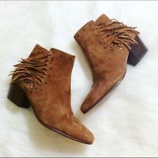 WOMENS SAM EDELMAN Boot Rudie Fringe Saddle Kid Suede Brown Ankle Booties 8.5 M
