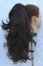 Marrone Scuro Ondulato Ricci/Lisci 2 modi Clip in coda di cavallo estensione dei capelli pezzo