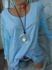 Sheego Shirt Tunika Zipfelform Gr. 44/46 und 52/54 Blau Ton mit Spitze (790) NEU