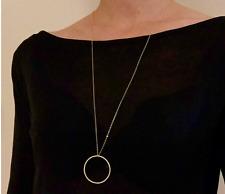 Femme Collier argent or anneau cercle simple style blogueur long imposant