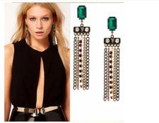 Womens Celebrity Vogue Fashion Leave/Green Crystal Metal Tassels Dangle Earrings