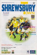 Football Programme>SHREWSBURY TOWN v BARNET Aug 1998