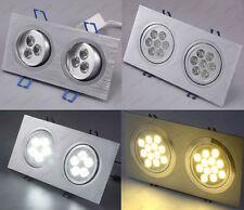 Dual-Head LED Ceiling Down Light Fixture Grille Lamp Bulb Kit Rectangle Gimble
