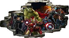 Marvel Avengers Super Heros Hulk 3d Smashed Wall View Sticker Poster Vinyl Z101
