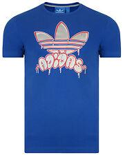 Men's New Adidas Originals Trefoil T-Shirt Top - Retro Vintage Fashion - Blue