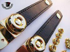 Accordion Bellow Straps Black Gold Plated w/Hardware Pair Balghalter Balgriemen