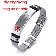Silver Men Women Medical Alert ID Watch Band Bracelet Laser Engraving Adjustable