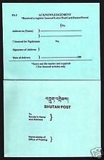BHUTAN 1991 ACKNOWLEDGEMENT CARD UNUSUAL MINT POST STATIONERY BHUTANESE ITEM