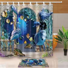Marine Turtle&Dolphin Polyester Waterproof Bathroom Shower Curtain Hooks Mat Set