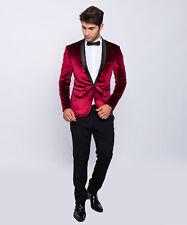 SLIM FIT UOMO SMOKING velluto ottica in rosso con-matrimonio-palco-Paulino - Tuta da uomo