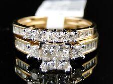 Yellow Gold Princess Cut Real Diamond Bridal Engagement Ring Set 1.0 Ct