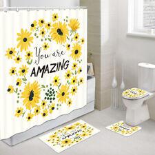Amazing Flower Shower Curtain Toilet Cover Rug Bath Mat Contour Rug Set