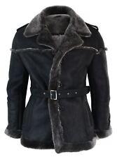 Manteau homme veston croisé peau de mouton Sherling véritable gris noir