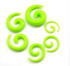 Elargisseur piercing ècarteur ou expandeur spirale vert fluo de 2 mm à 8 mm