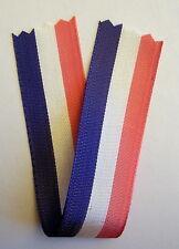 Ancien ruban TRICOLORE fin, 15 cm x 23 mm pour médailles ou insignes divers.