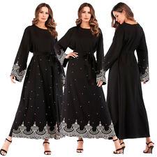 Muslim Women Embroidery Beaded Long Maxi Kaftan Abaya Dress Islamic Tunic Robes