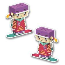 2 x Cute Anime Snowboard Chick Vinyl Sticker Laptop Travel Luggage Car #6400
