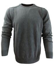 Baileys modischer Herren Rundhals Pullover in grau Garmed Wash Gr. M bis 5XL