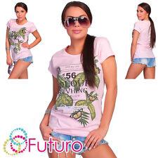 Casual T-Shirt 56 Color Impresión Cuello Redondo Manga Corta Partido TOP TAMAÑOS 8-14 fb152