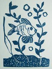 Joachim Karsch le poisson original-Gravure sur bois 1932 the fish le poisson aquarium