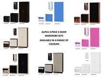 Alpha Gloss 3 Piece Bedroom Furniture Set - Bedside, Chest, 2 Door Wardrobe