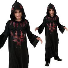 Boys Hooded Devil Robe Halloween Fancy Dress Costume Demon Cloak Kids Outfit