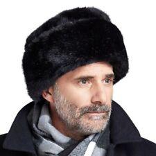 Men's Black Luxury Faux Mink Fur Russian Cossack Hat Winter Warm Thermal Vintage