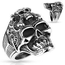 Crossbones Skull Steampunk Stainless Steel Band Mens Ring