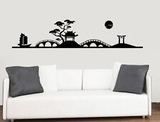 Oriental Landscape Silhouette - Wall Vinyl Sticker China Chinese Japan Far East