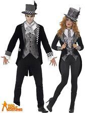 Deluxe Dark Mad Hatter Costume Mens Ladies Fancy Dress Halloween Alice Couples