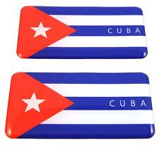 """Cuba Cuban flag domed decal 3D sticker emblem 2.6"""" set of 1 or 2"""