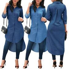9d0ce96e5e2 Fashion Women Blue Jeans Denim Long Sleeve T-shirt Loose Shirt Mini Dress  Tops