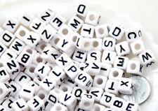 100 ou 200 Perle Blanche Lettre Alphabet Cube 8mm Attache tetine, Porte clé,...