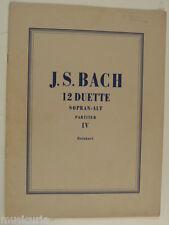 score / partitur BACH duette fur sopran / alt , band 4 , HUG - reinhart
